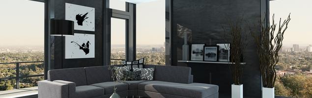 Nowoczesny, minimalistyczny salon. Aranżacja wnętrza