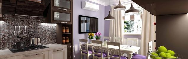 Nowoczesna kuchnia - białe meble kuchenne i fioletowe ściany