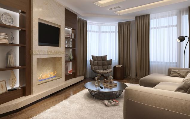 Pomysł na salon z kominkiem – styl nowoczesny