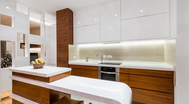 Biała kuchnia na wysoki połysk Drewno w kuchni -> Kuchnia Biala Drewno
